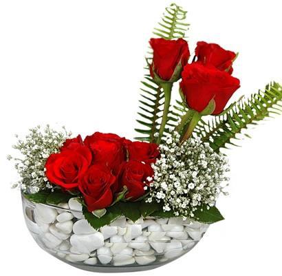 cam içerisinde 9 adet kirmizi gül  İzmir Konak online çiçekçi , çiçek siparişi