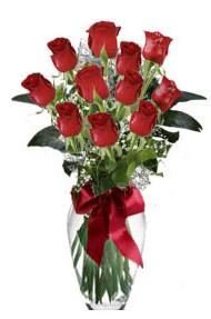 11 adet kirmizi gül vazo mika vazo içinde  İzmir Konak çiçek gönderme