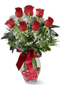 İzmir Konak yurtiçi ve yurtdışı çiçek siparişi  7 adet kirmizi gül cam vazo yada mika vazoda