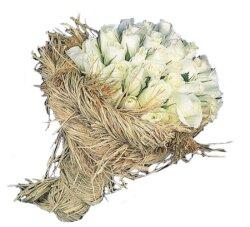 İzmir Konak çiçek siparişi vermek  12 adet beyaz hasirda güller