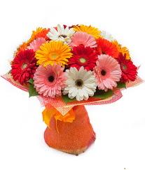 Renkli gerbera buketi  İzmir Konak çiçekçi telefonları