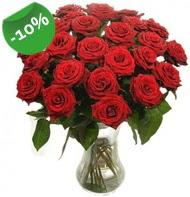 Vazo içerisinde 25 adet kırmızı gül  İzmir Konak İnternetten çiçek siparişi