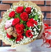 7 adet kırmızı gül 2 adet 10 cm ayı buketi  İzmir Konak online çiçekçi , çiçek siparişi