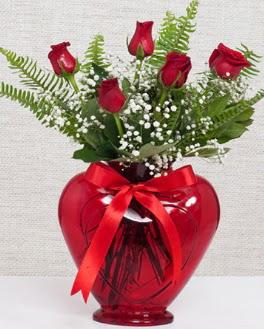 Kalp içerisinde 5 adet kırmızı gül  İzmir Konak uluslararası çiçek gönderme