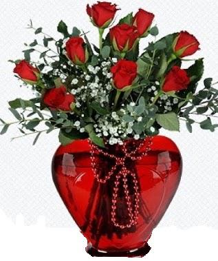 Kalp cam mika içinde 9 adet kırmızı gül  İzmir Konak kaliteli taze ve ucuz çiçekler