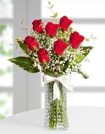 Cam vazoda 7 adet kırmızı gül  İzmir Konak anneler günü çiçek yolla