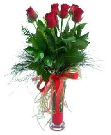 vazo içerisinde 5 kırmızı gül  İzmir Konak çiçek siparişi sitesi
