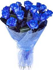 9 adet mavi gülden buket çiçeği  İzmir Konak çiçek online çiçek siparişi