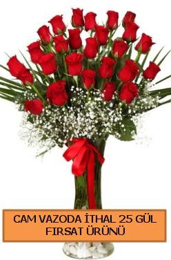 Cam vazoda ithal 1. kalite 25 gül  İzmir Konak kaliteli taze ve ucuz çiçekler