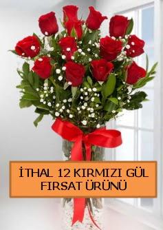 İthal kırmızı 12 adet kaliteli gül  İzmir Konak hediye sevgilime hediye çiçek