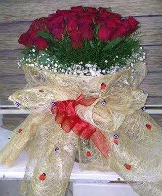 41 adet kırmızı gülden kız isteme buketi  İzmir Konak kaliteli taze ve ucuz çiçekler