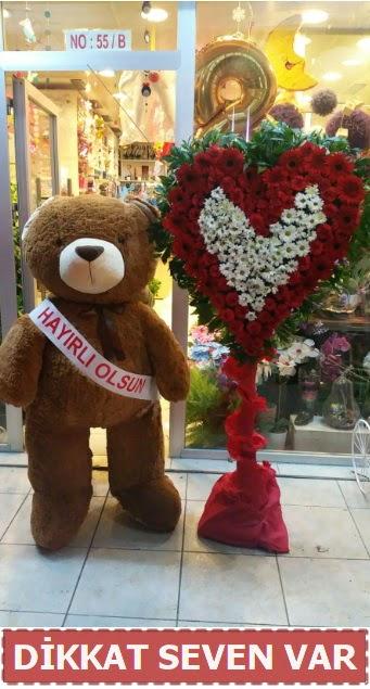 1.5 Metre peluş ayı ve Kalp  İzmir Konak online çiçek gönderme sipariş