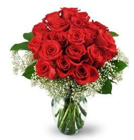 25 adet kırmızı gül cam vazoda  İzmir Konak anneler günü çiçek yolla