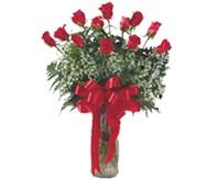 İzmir Konak çiçek gönderme sitemiz güvenlidir  mika vazo yada Cam vazoda 12 adet gül