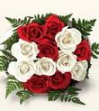İzmir Konak anneler günü çiçek yolla  10 adet kirmizi beyaz güller - anneler günü için ideal seçimdir -