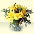 İzmir Konak yurtiçi ve yurtdışı çiçek siparişi  sari güller ve sari lilyum