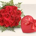 İzmir Konak çiçekçi mağazası  10 adet gül ve kalp çikolata