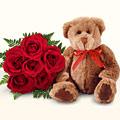 İzmir Konak çiçek yolla , çiçek gönder , çiçekçi   5 gül ve orta boy ayicik