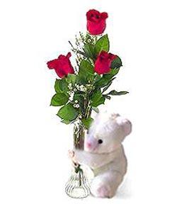 oyuncak ve 3 adet gül  İzmir Konak çiçek mağazası , çiçekçi adresleri