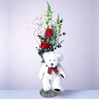 2 adet gül ve panda özel  İzmir Konak çiçek servisi , çiçekçi adresleri