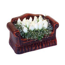 seramik içerisinde 11 gül  İzmir Konak çiçek online çiçek siparişi