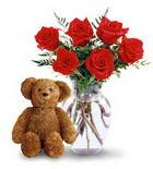 vazoda 6 adet gül ve oyuncak  İzmir Konak internetten çiçek siparişi