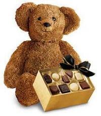 çikolata ve oyuncak ayicik  İzmir Konak hediye sevgilime hediye çiçek