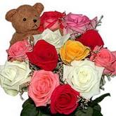 renkli güller ve ayicik   İzmir Konak çiçek satışı