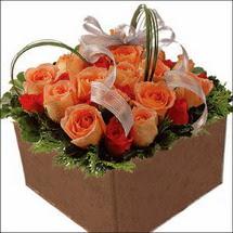 kare sandikta 11 gülllerden   İzmir Konak çiçek servisi , çiçekçi adresleri