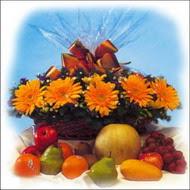 sepette gerbera ve meyvalar   İzmir Konak çiçek servisi , çiçekçi adresleri