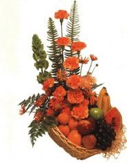 sepet kir çiçekleri meyva   İzmir Konak cicekciler , cicek siparisi