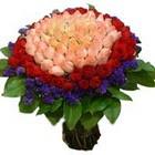 71 adet renkli gül buketi   İzmir Konak hediye sevgilime hediye çiçek