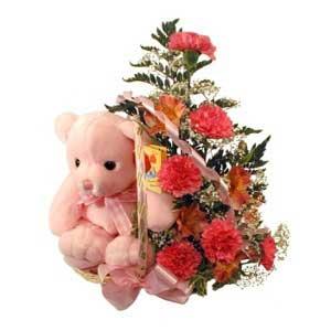 sepette karanfiller ve ayicik   İzmir Konak anneler günü çiçek yolla