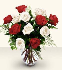 İzmir Konak çiçek yolla  6 adet kirmizi 6 adet beyaz gül cam içerisinde