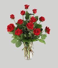 İzmir Konak çiçek gönderme sitemiz güvenlidir  11 adet kirmizi gül vazo halinde