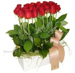 İzmir Konak İnternetten çiçek siparişi  12 adet kirmizi güllerden sepet tanzimi