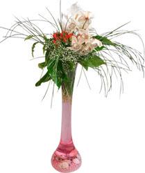 İzmir Konak çiçekçi mağazası  Filayagi cam vazo içerisinde orkide ve güllerle ha