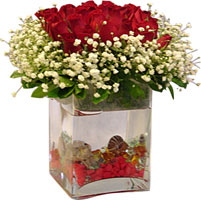 İzmir Konak çiçek servisi , çiçekçi adresleri  9 adet kirmizi gül ve cam yada mika tanzim