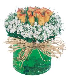 İzmir Konak kaliteli taze ve ucuz çiçekler  Cam yada mika içerisinde 9 adet  gül aranjmani