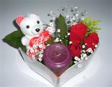 İzmir Konak İnternetten çiçek siparişi  kalp içerisinde 3 gül seni seviyorum yazili pelus