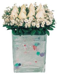 İzmir Konak çiçek servisi , çiçekçi adresleri  7 adet beyaz gül cam yada mika vazo tanzim