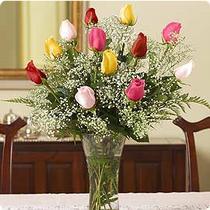 İzmir Konak yurtiçi ve yurtdışı çiçek siparişi  renkli gül 11 adet çiçekçi den cam yada mika vazo tanzimi