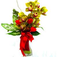 İzmir Konak çiçek yolla  1 adet dal orkide ve cam yada mika vazo tanzim