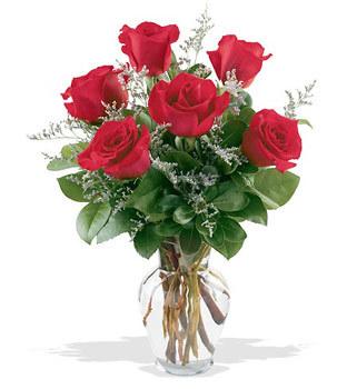 İzmir Konak çiçek gönderme sitemiz güvenlidir  cam yada mika vazoda 6 adet kirmizi gül