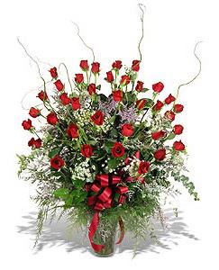 İzmir Konak çiçek mağazası , çiçekçi adresleri  33 adet kirmizi gül vazo içerisinde