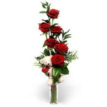 İzmir Konak güvenli kaliteli hızlı çiçek  cam yada mika vazo içinde 7 adet kirmizi gül ve oyuncak