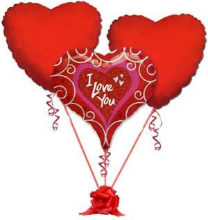 İzmir Konak çiçek yolla , çiçek gönder , çiçekçi   3 adet büyük boy kalp uçan balon