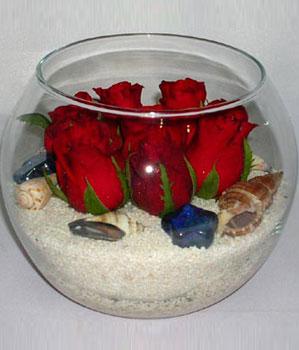 Cam fanus içeirsinde 9 adet kirmizi gül  İzmir Konak online çiçekçi , çiçek siparişi
