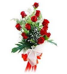 11 adet kirmizi güllerden görsel sölen buket  İzmir Konak online çiçekçi , çiçek siparişi