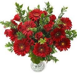 5 adet kirmizi gül 5 adet gerbera aranjmani  İzmir Konak çiçek online çiçek siparişi